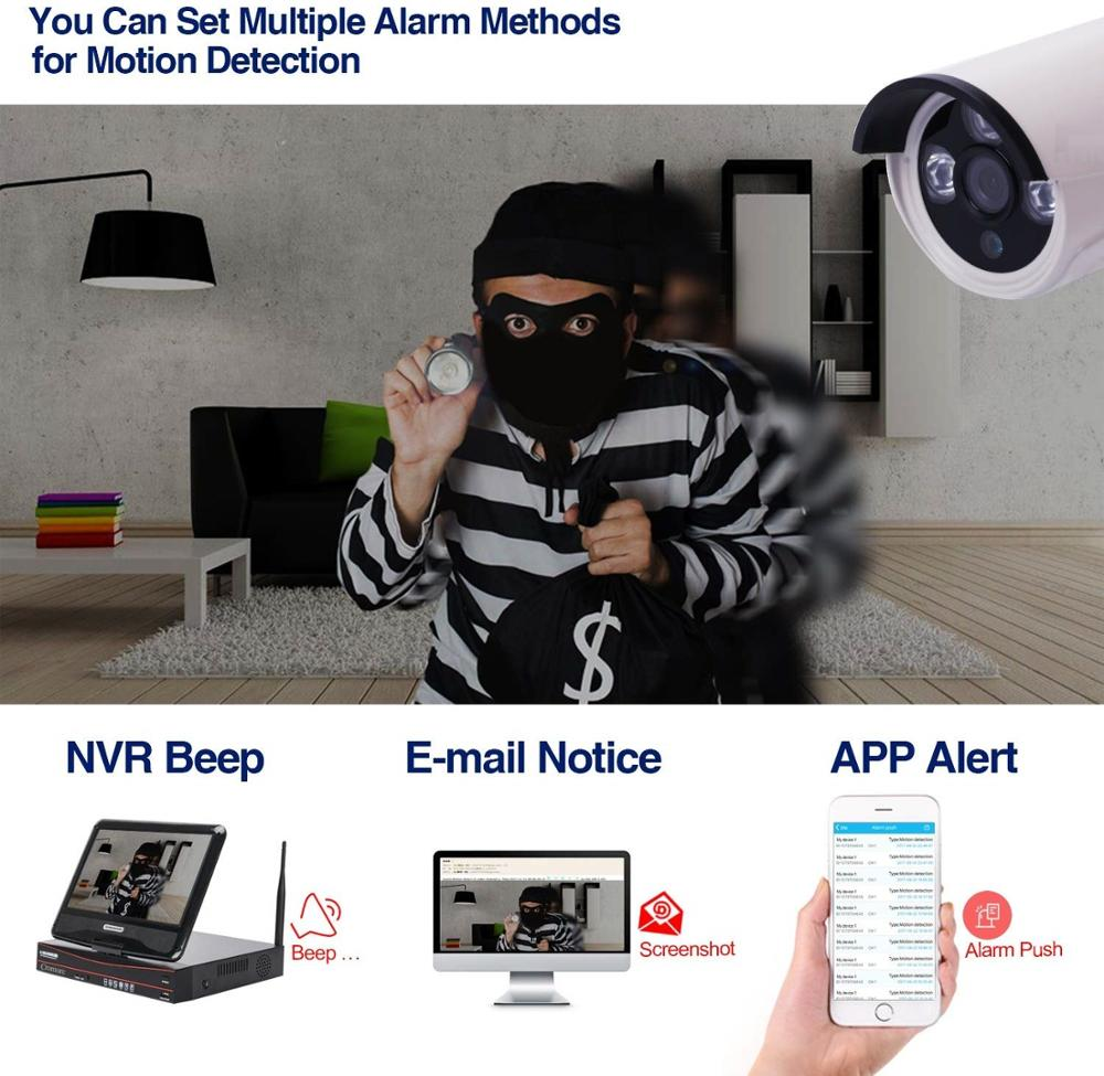 4 channel wifi 1080P nvr kit 4ch onvif 2mp hd camera wireless P2P home Waterproof audio security surveillance cctv system