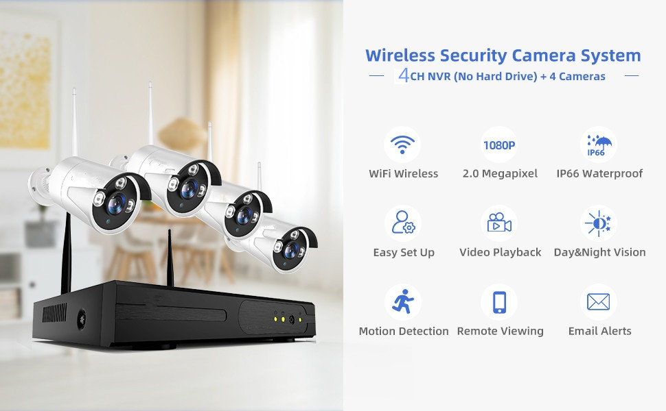 2mp Best security  hd infrared waterproof outdoor IP home  4ch cctv dvr kit