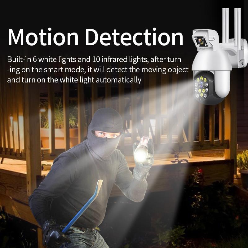 Dual Lens  WIFI IP CCTV Security Wireless Outdoor Waterproof Home Double Lens PTZ  IR Cam
