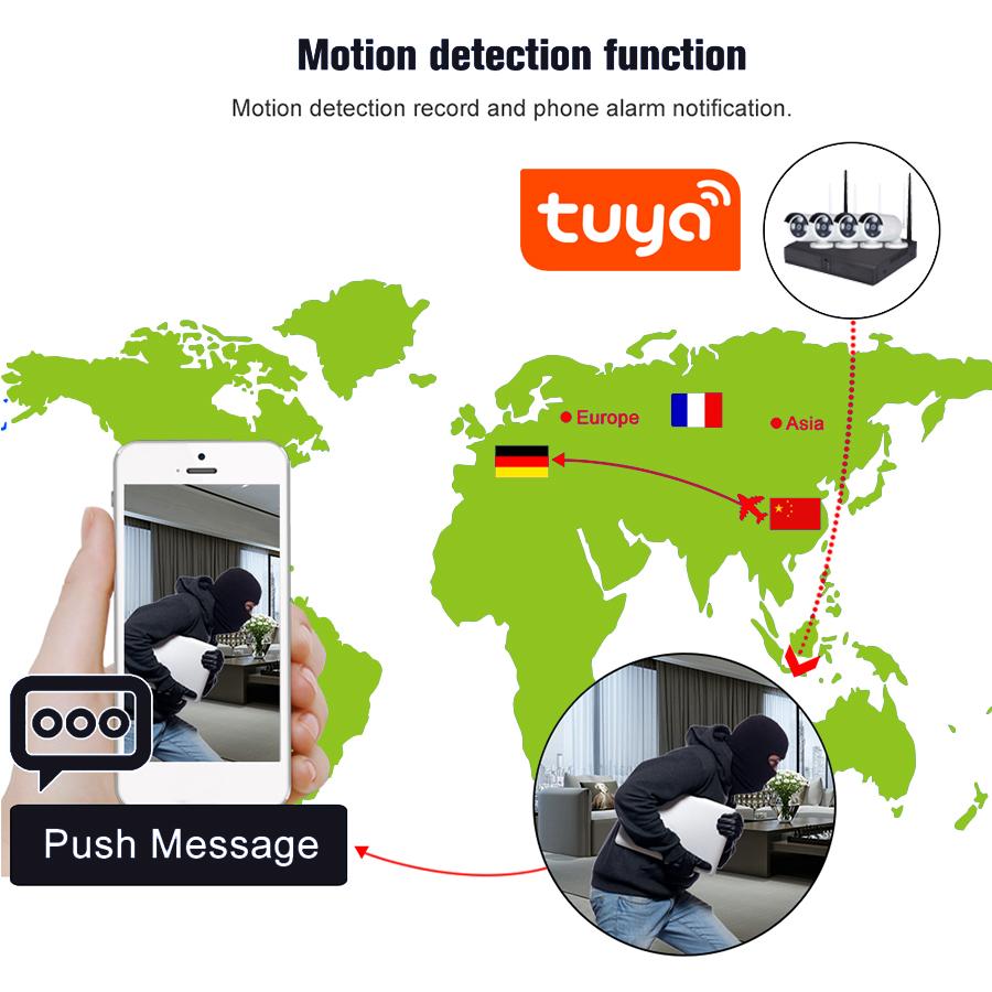 4 Channel 2MP H.265/265 NVR POE HD 1080P CCTV IP Cameras Kits 4 CH Home Video Surveillance Cameras System