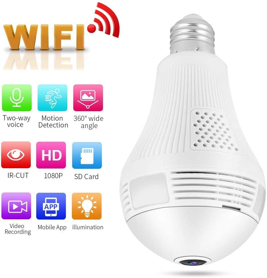 960P Light Bulb Surveillance Camera Wireless Wifi Hidden Camera 360 Degree Wifi IP CCTV Camera Motion Detection Two-way Audio Ce