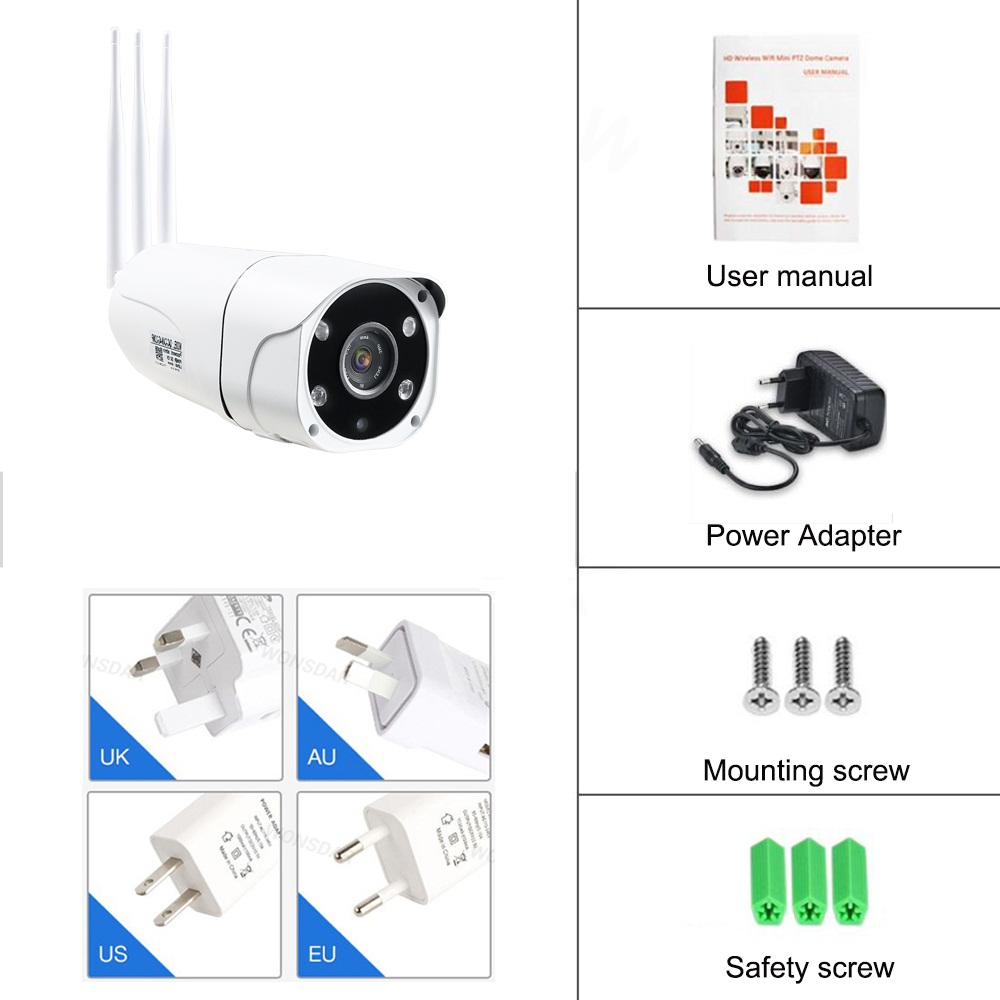 IP CCTV Network 4G WiFi Camera Support SIM TF Card 1080P HD P2P Two Way Audio Night Vision Waterproof IP66 4G Camera
