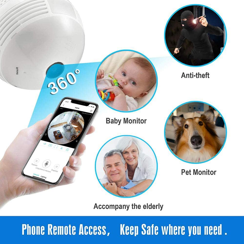 Full HD 1080P Dome Surveillance Fisheye Cameras Home 2.4GHz WiFi 360 Panoramic Home Baby Pet Monitor Light Bulb VR Camera