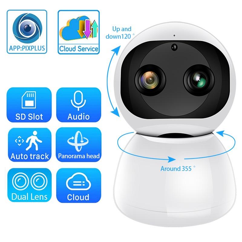 PTZ Dual Len Wireless IP Camera WiFi 1080P H.265 IR Night Vision Voice Call WiFi Camera Security Surveillance Pixplus app Cam