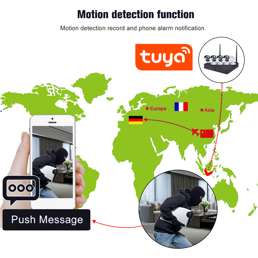 4CH 2mp Tuya Best selling Outdoor Security 4CH NVR Kit Full HD 4 Channel POE IP Camera System