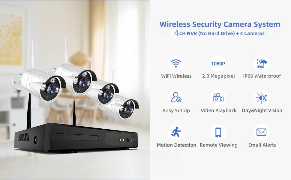 wifi ip bullet 2mp camera outdoor night vision infrared waterproof ctv kit 4 camera