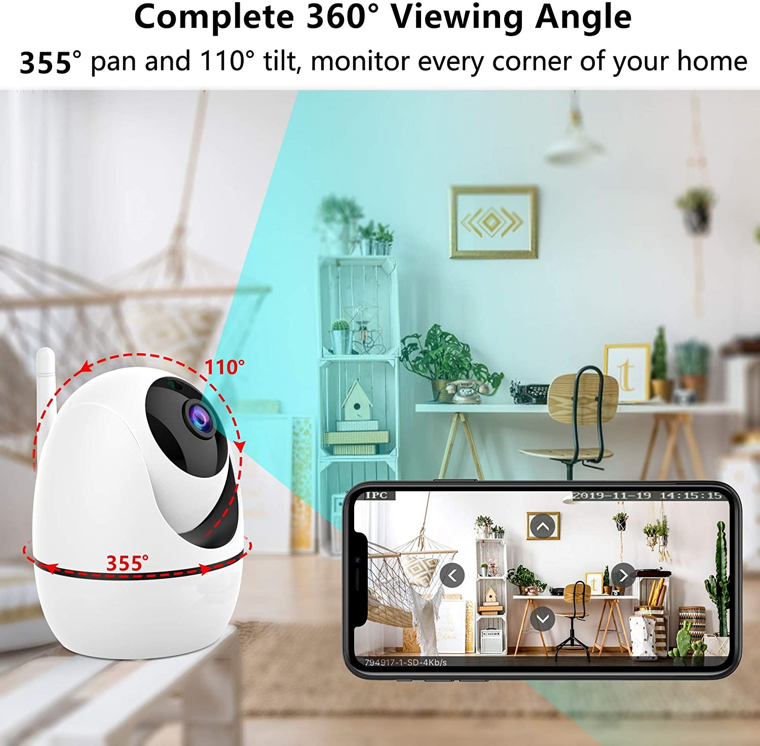 HOT two way audio night viision wifi cctv camera for sale with Motion Detection ycc365plus app