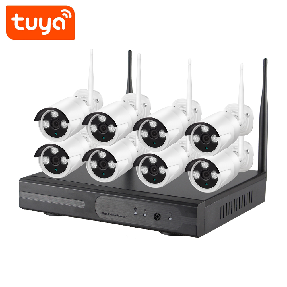 8CH 2MP PoE Home Security Camera System 8pcs Wired 2MP Outdoor PoE IP Cameras Set 24/7 Recording 8-Channel NVR Kit