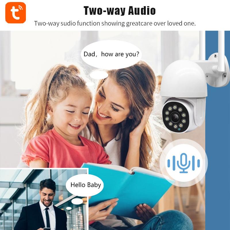 mini IP Waterproof Outdoor 2-way speaker audio Tuya 2MP Smart Wifi Home Bullet Wireless Security Cctv camera