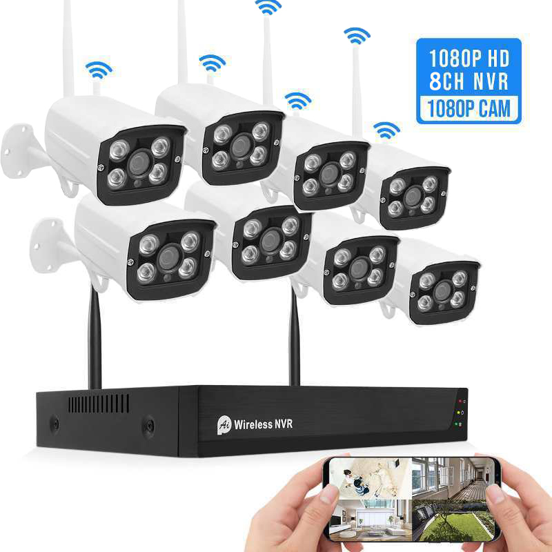 Tuya h.265 2mp hisilicon 8 channel wireless cctv home security camera system wifi nvr kit outdoor AI human detection