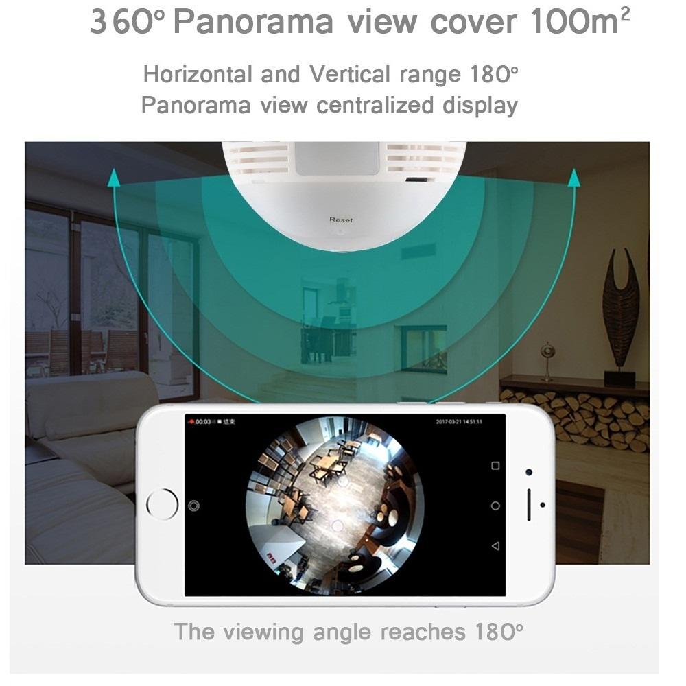 1080P 2.0MP Security Wifi Camera Lamp 360D Panoramic Bulb IP CCTV Video Surveillance Fisheye HD Night Vision Two Way Audio Cam