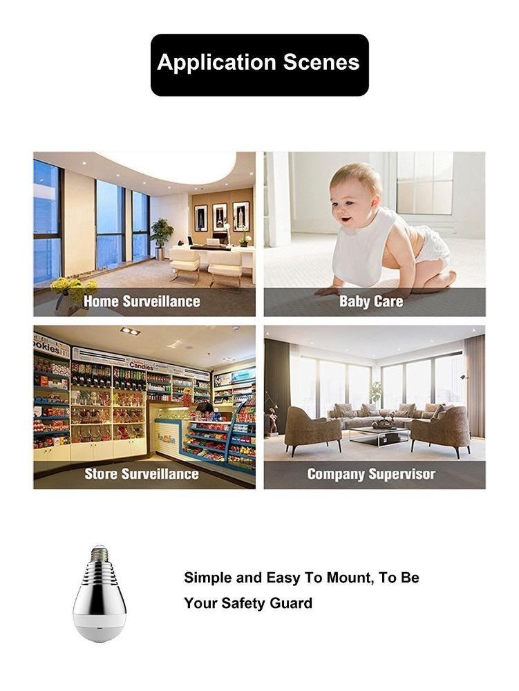 360 degree LED Bulb 1.44mm lens wifi camera