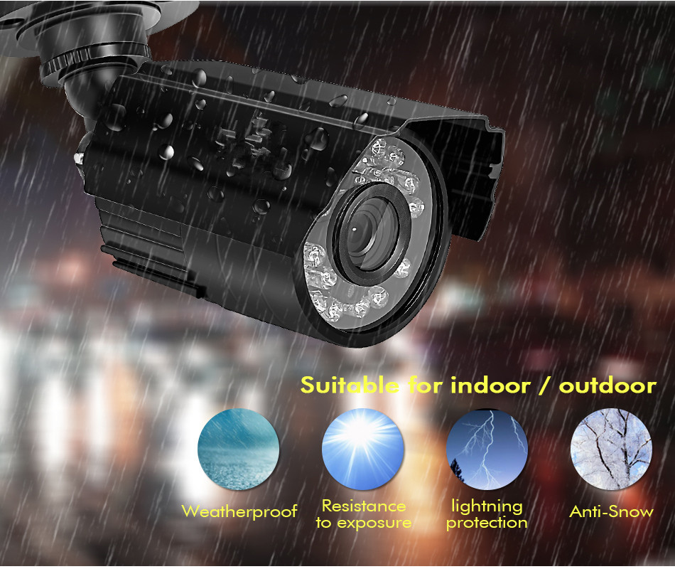 1080N 4CH Security Camera System AHD DVR Video Surveillance Kit with (4) HD 1.0MP (720P) Waterproof Bullet CCTV Cameras,
