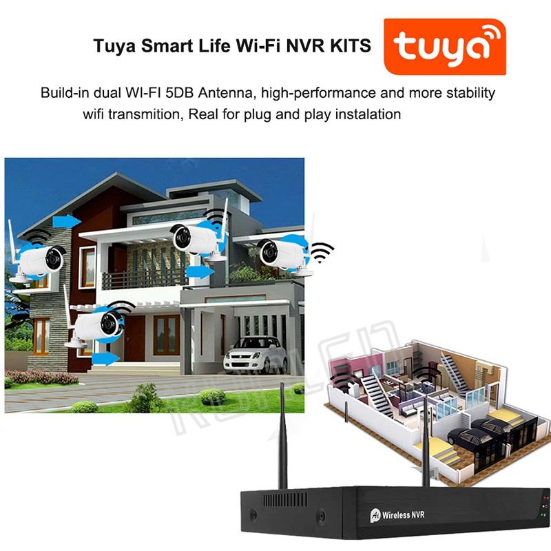 4 Channel 2MP H.265 Outdoor Waterproof CCTV POE Security Camera NVR Kit IR Night P2P Video Surveillance Kit 2TB HDD