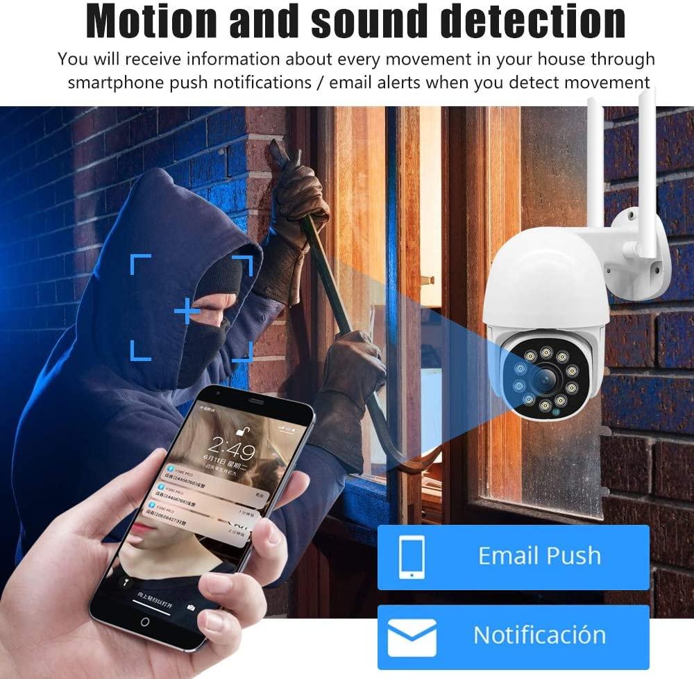 Security Camera Outdoor PTZ 1080P Full HD WiFi IP Cam Pan/Tilt Home Surveillance Camera