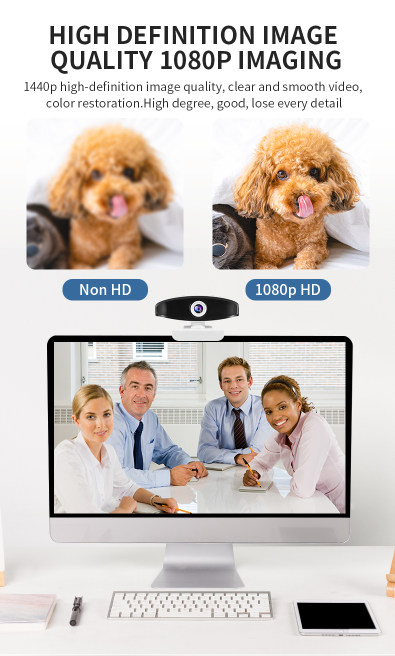 New USB Web Camera 1080P HD Auto Focus Computer Camera Webcams Built-In Sound-absorbing Microphone