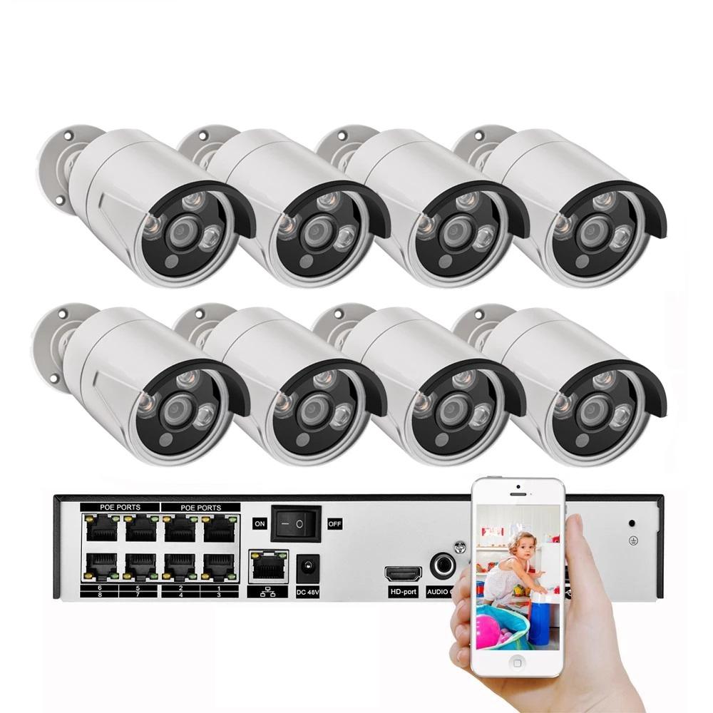 Tuya 8CH 5MP POE Security Camera System Kit Rj45 IP Camera IR Outdoor Waterproof CCTV Video Surveillance NVR kit Featured Image
