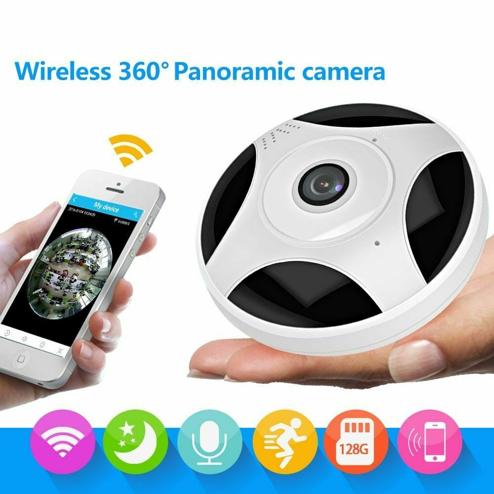 WiFi IP Home Network Fisheye 360 Degree Indoor Night Vision Motion Detection Dome VR Camera
