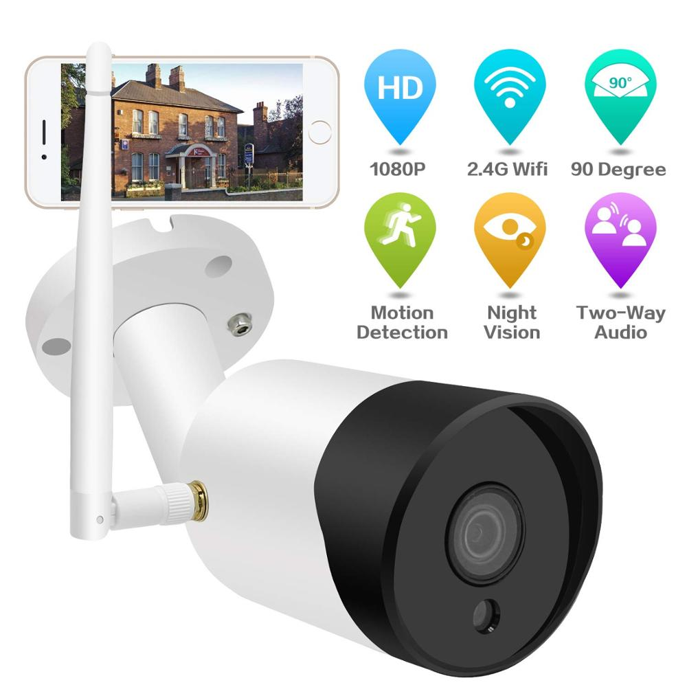 2.4G 1080P WiFi Wireless Outdoor Security Camera  Night Vision Security Camera with Two-Way Audio, Motion Detection,