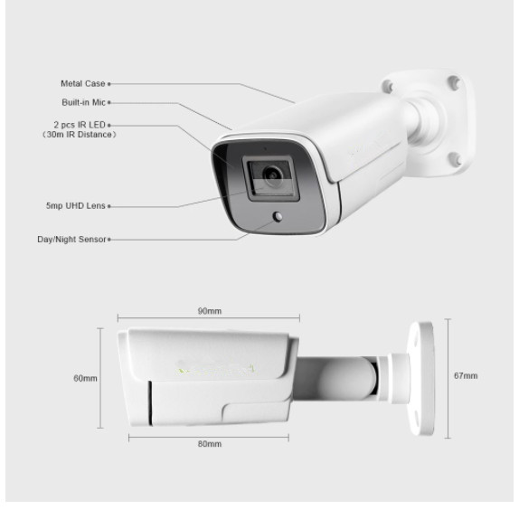 H.265 8 Megapixel 5MP Motion Detection  Outdoor IP POE CCTV Bullet Security Surveillance Camera