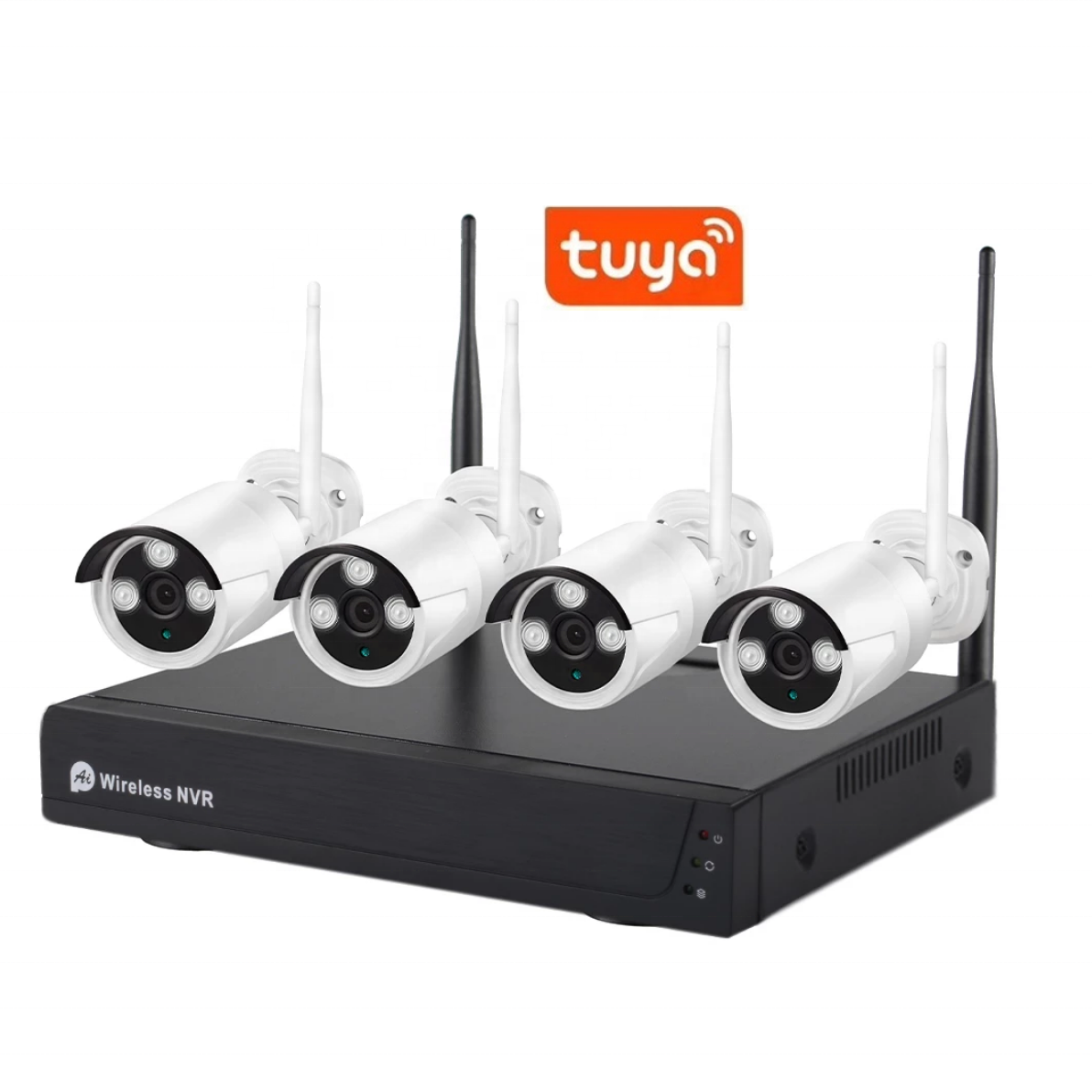 4CH H.265 Tuya App 2MP Audio Video Surveillance Wireless NVR Kit Security Camera System
