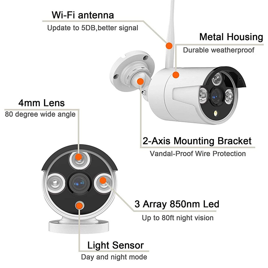 8CH tuya CCTV System Wireless 1080P NVR With HD 2.0MP Outdoor Infrared Waterproof Wifi Security Camera system Surveillance Kit
